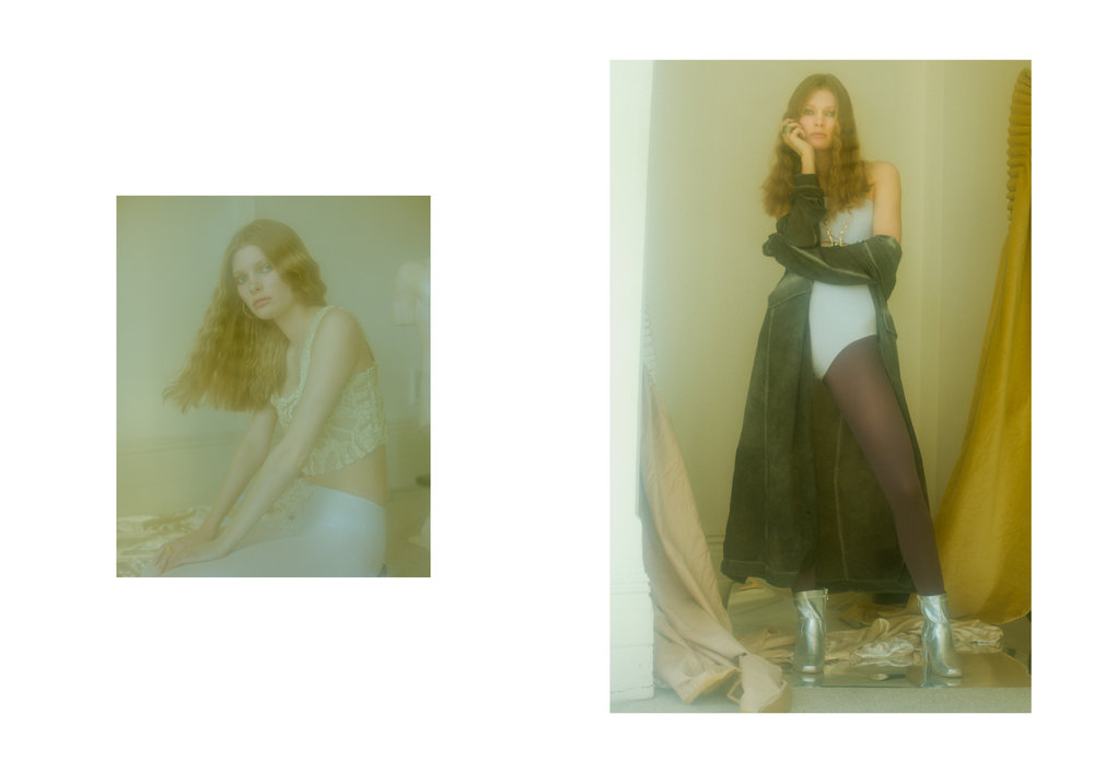coat STYLIST'S OWN, swimsuit  WEEKDAY , stockings GIPSY DUSTY, shoes  DAISY STREET   (right image)