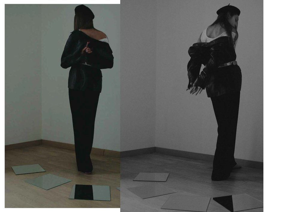 jacket KENZO VINTAGE SELECTION, asymmetrical top JACQUEMUS, black trousers LUCIO VANOTTI, silver belt and black hat à la français STYLIST ARCHIVE
