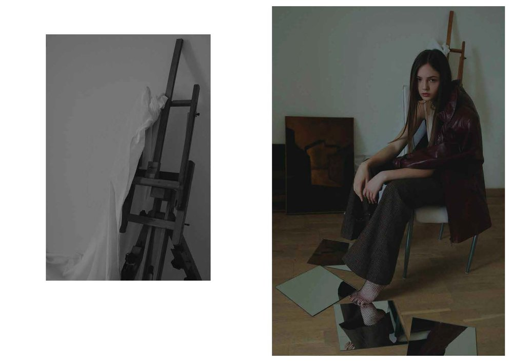 jacket STYLIST ARCHIVE, top ACNE STUDIOS, trousers SOHO DE LUXE, fishnet stockings STYLIST ARCHIVE