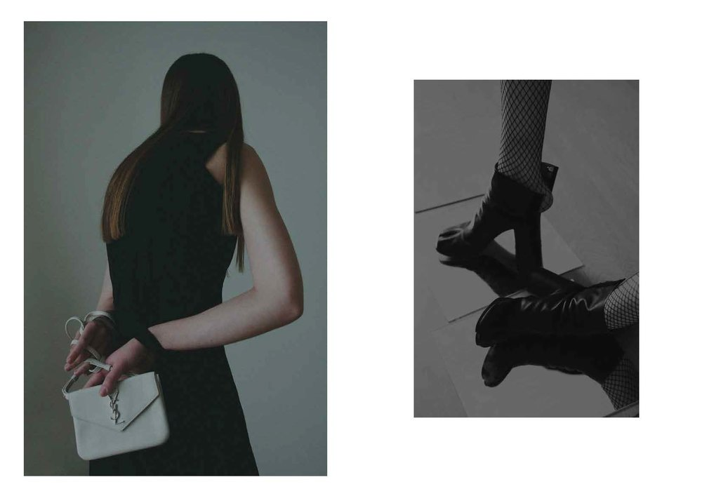 panel black dress COS, trio mini-bag SAINT LAURENT, right tabi boots MAISON MARTIN MARGIELA, fishnet stockings STYLIST ARCHIVE