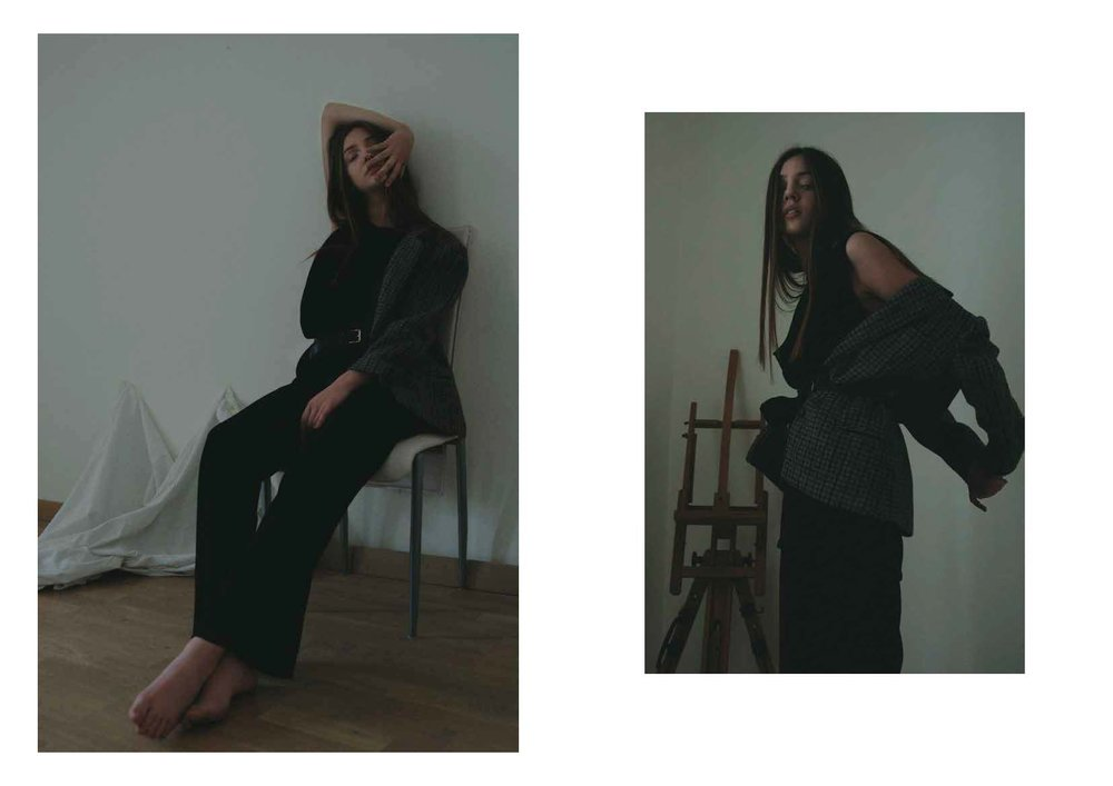 blazer STYLIST ARCHIVE, black top ANN DEMEULEMEESTER, black trousers LUCIO VANOTTI, belts STYLIST ARCHIVE