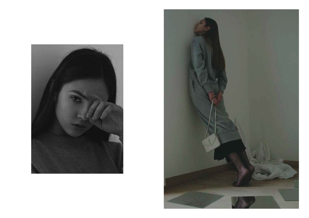 grey sweat-dress LUCIO VANOTTI, panel black dress COS, collant STYLIST ARCHIVE, trio mini-bag SAINT LAURENT
