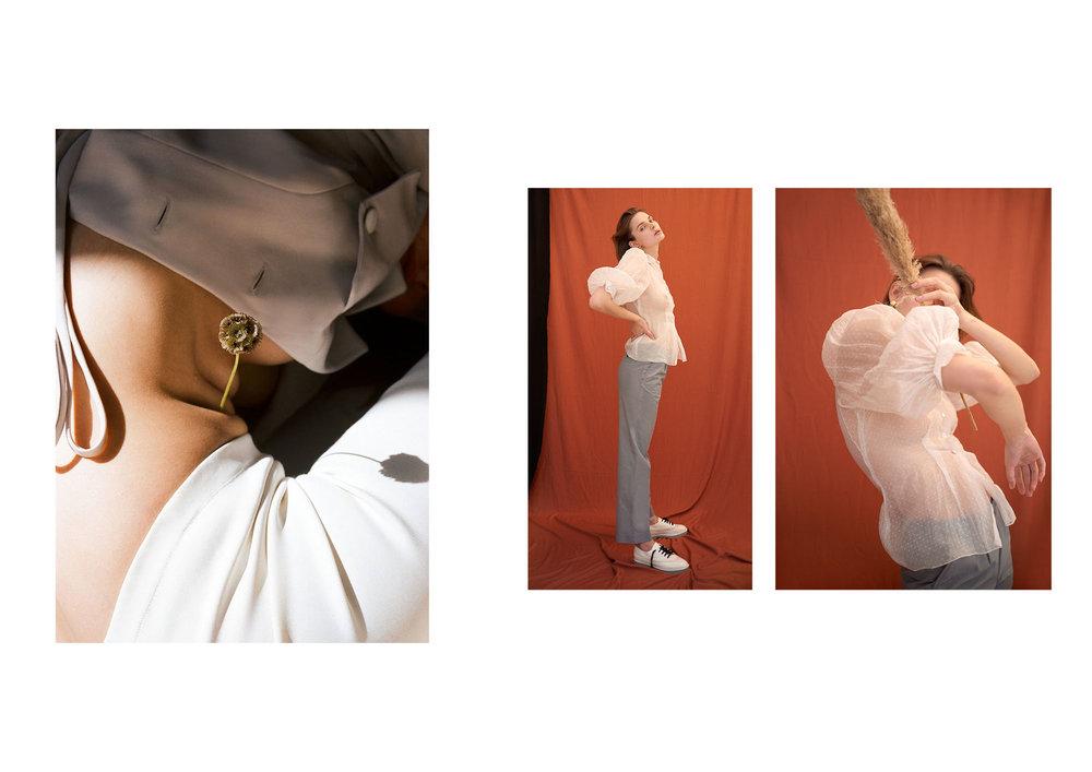 right Blouse: Vintage via Townes, Pants: Maison Margiela via Townes, Shoes: Alexander Wang