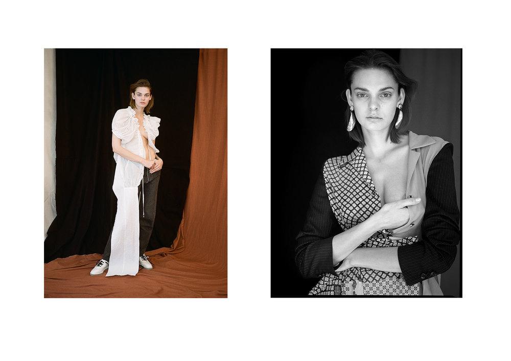 left Blouse: Comme des Garcons, Pants: Vetements via matchesfashion, Shoes: Alexander Wang, right Dress: Maison Margiela, Earrings: Vintage via solastseason