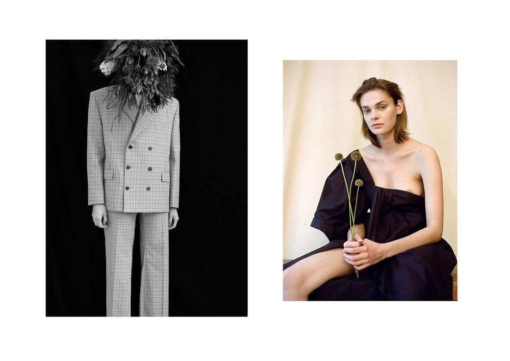 left blazer + pants Balenciaga, right Dress: Teija via matchesfashion
