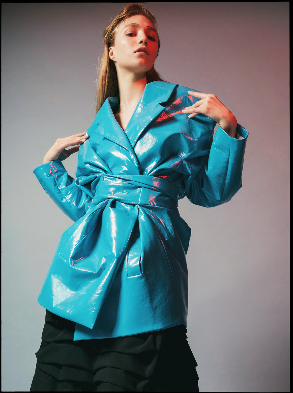 jacket RAD HOURANI, shorts COMME DES GARÇON available at  Holt Renfrew ,