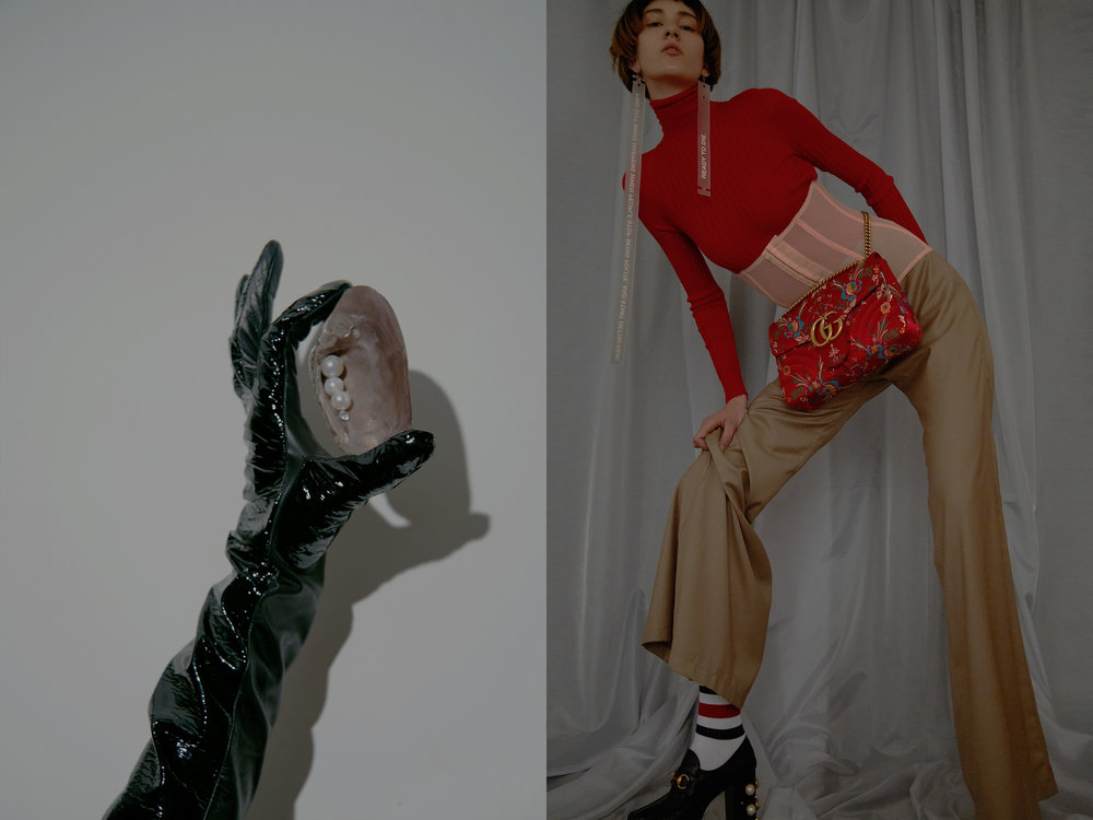 LEFT gloves PRADA. RIGHT jumper, socks, shoes and bag GUCCI, trousers PALOMA LIRA, earrings RTD, corset STYLIST OWN.