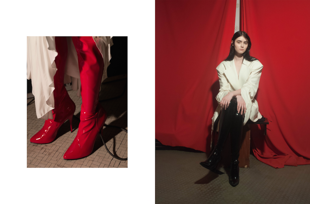 boots PINA SPARACO,skirt YULI LI, boots PUBLIC DESIRE, blazer YULI LI, belt WEEKDAY