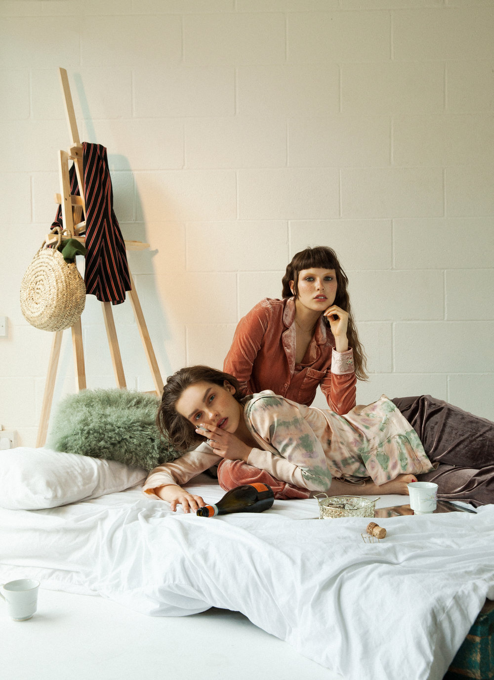 LEFT Trousers: Scotch & Soda Jacket: Scotch & Soda Necklace: The Boyscouts RIGHT Trousers: Naya Rea Shirt: Raquel Allegra BED SET Basket: Blooming Dreamer Striped dress: Poustovit