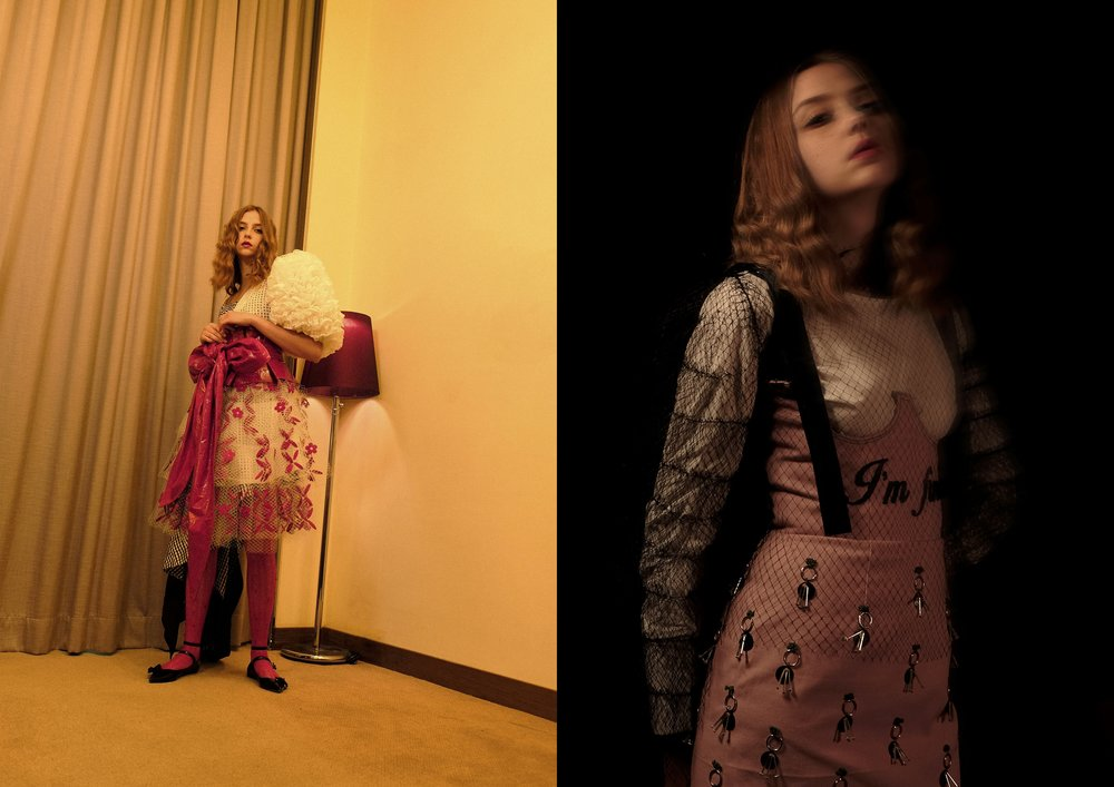 total look SARAH LAM (left), mesh top & dress KARA CHAN, shirt ZARA (right)