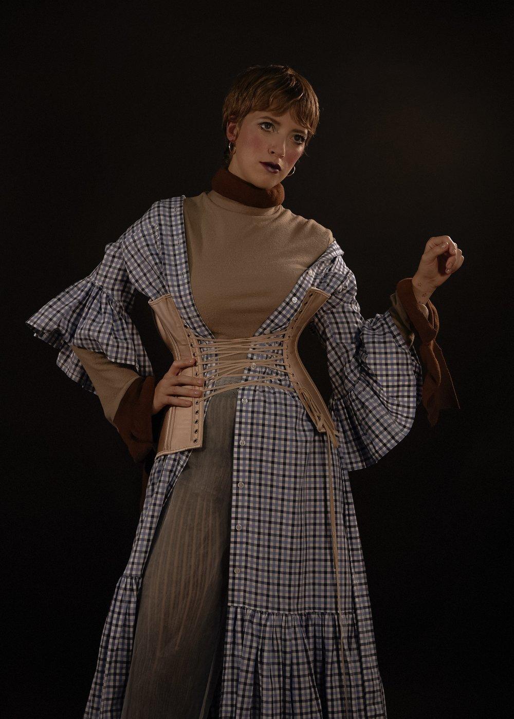 top Acne, dress Victoria / Tomas, corset Dorout Mees, leggings Veronique Leroy, trousers Ester Manas