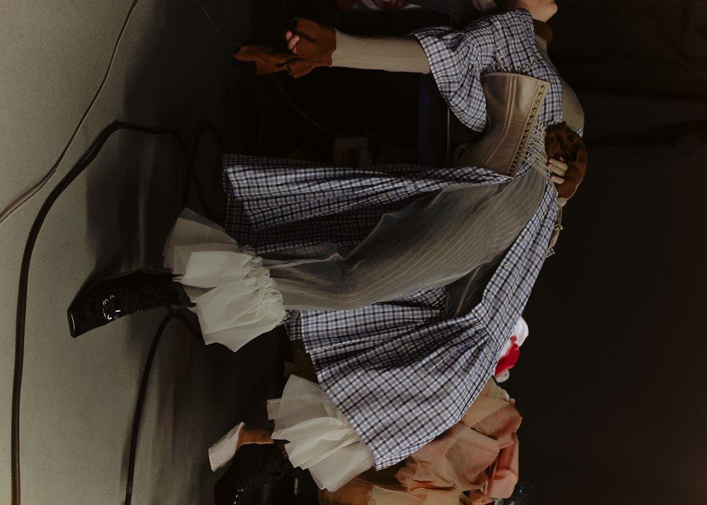 top Acne, dress Victoria / Tomas, corset Dorout Mees, leggings Veronique Leroy, trousers Ester Manas, shoes Acne