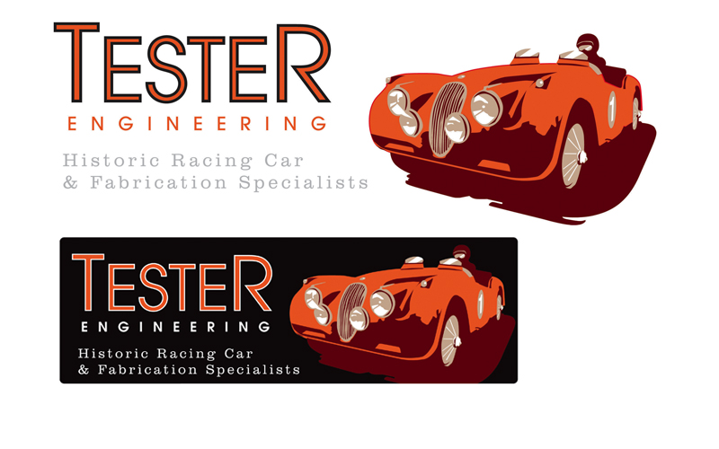Branding designs for a historic car restorer in the Midlands.