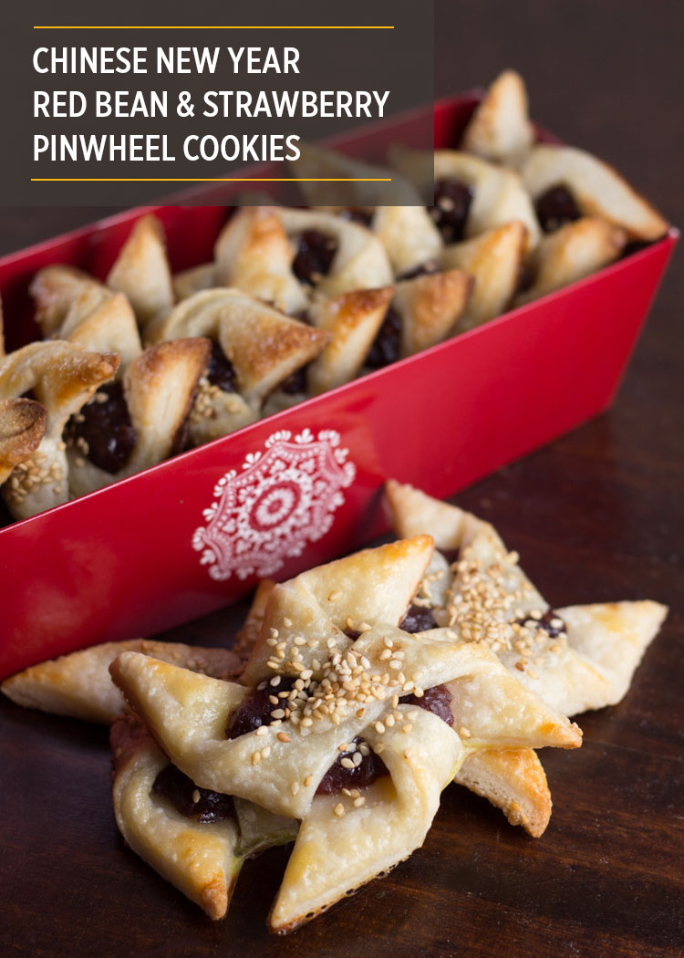 Chinese New Year Red Bean and Strawberry Pinwheel Cookies by Butter & Type