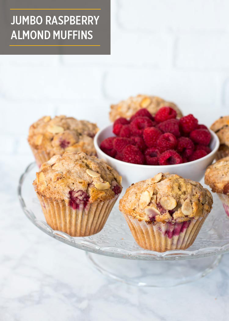 Jumbo Raspberry Almond Muffins by Butter & Type