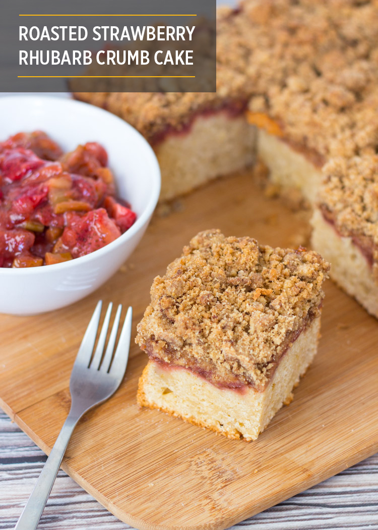 Roasted Strawberry Rhubarb Crumb Cake by Butter & Type