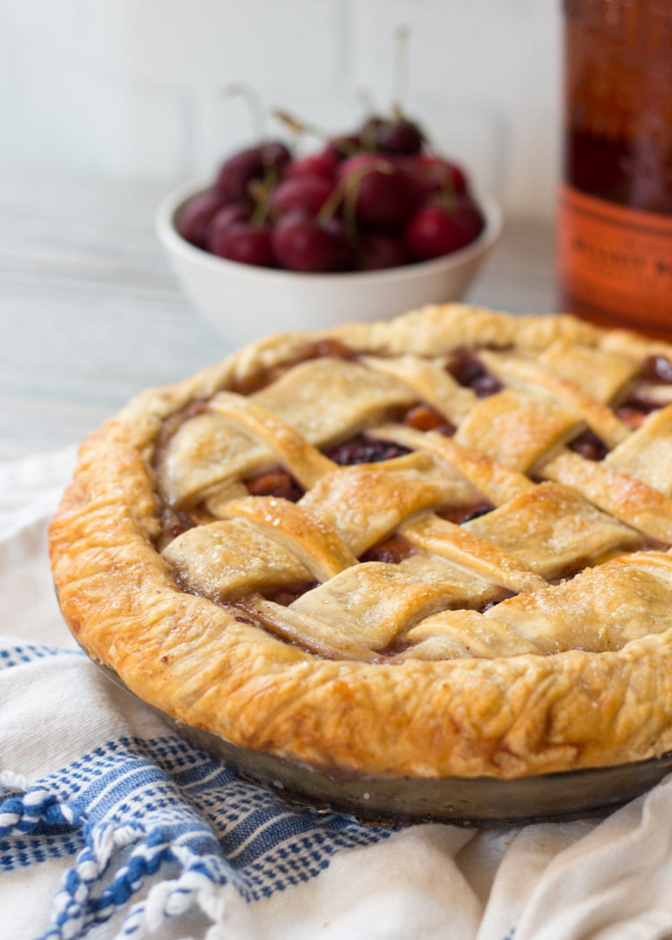 Drunken Cherry Peach Pie by Butter & Type