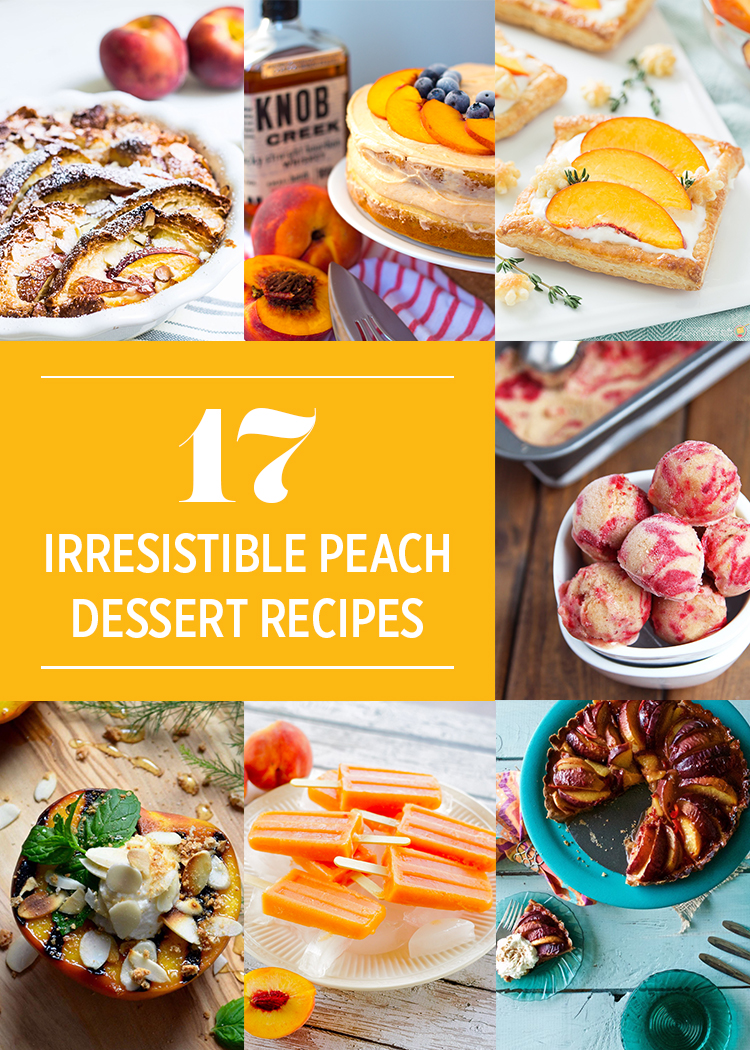 A roundup of 17 Irresistible Summer Peach Dessert Recipes via Butter & Type