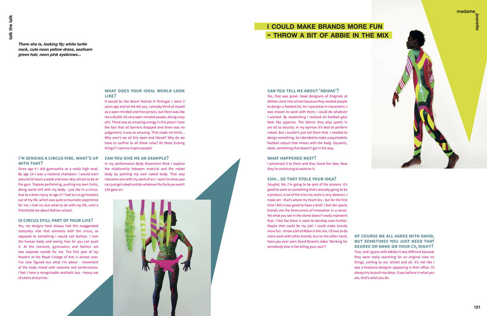 Part of the profile I wrote on Abbie Stirrup for Madame Jeanette magazine