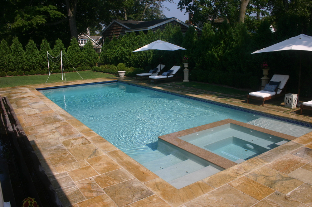 Swimming pool and spa design home design ideas for Swimming pool spa designs