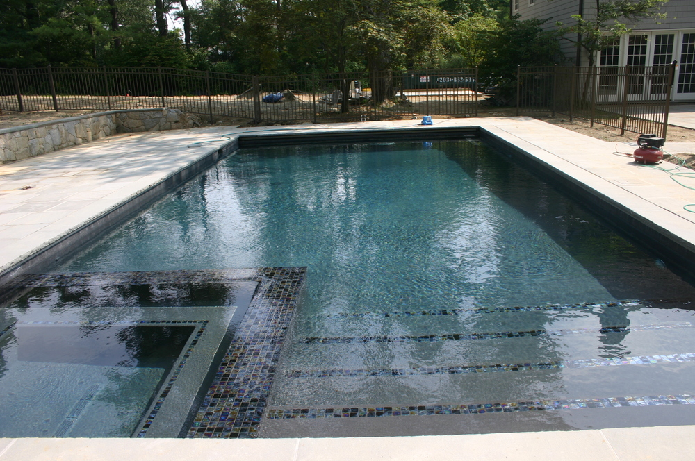 Ref ID  - Pool with interior spa, tile banner and common wall Greenwich, CT