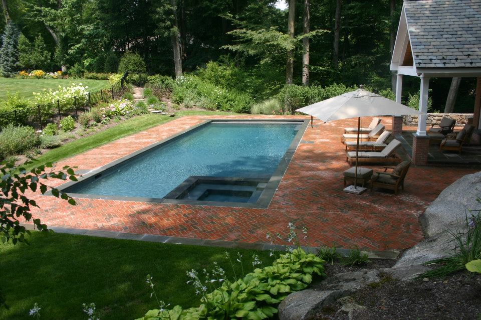 Ref ID  - Swimming pool with interior spa, auto cover, salt system, Brick decking in Greenwich, CT