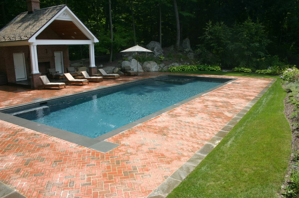 Ref ID  - Brick Decking design on pool-spa combo in Greenwich, CT