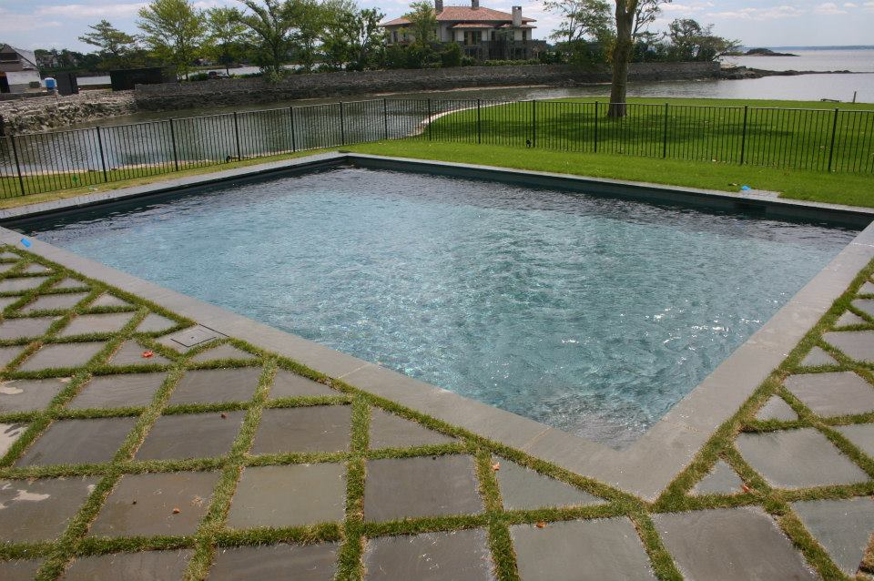 Ref ID  - Simple ocean view pool with half decking/grass border Greenwich, CT
