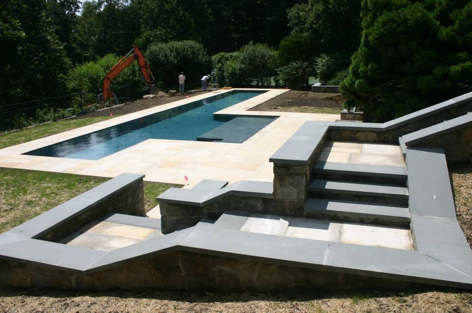Ref ID  - Custom stairwell to 70 foot lap pool and patio in New Canaan, CT