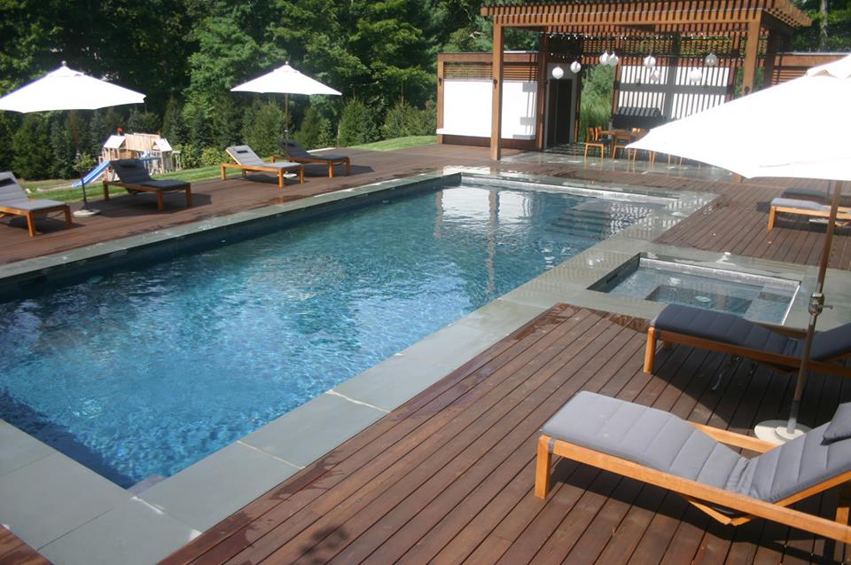 Ref ID  - Custom wood decking patio around pool-spa combo with pool house in Greenwich, CT