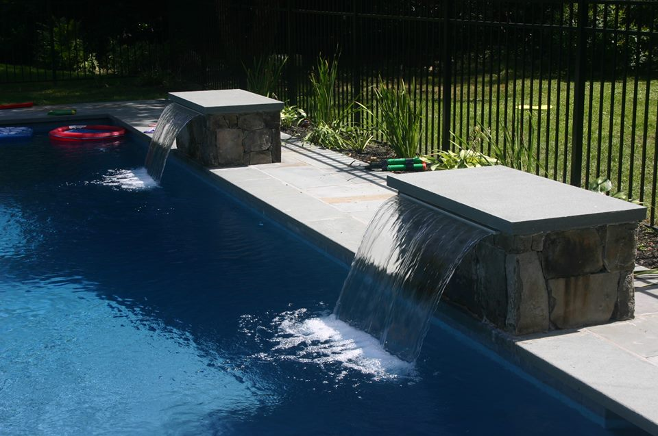 ref id water feature on simple pool in darien - Rectangle Pool With Water Feature