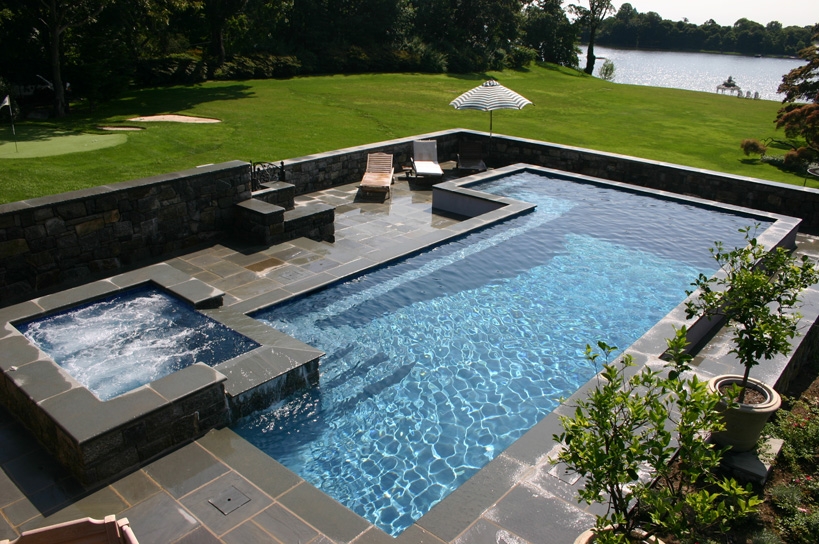 ref id swimming pool and spa design and construction by haggerty pools of norwalk - Rectangle Pool With Spa