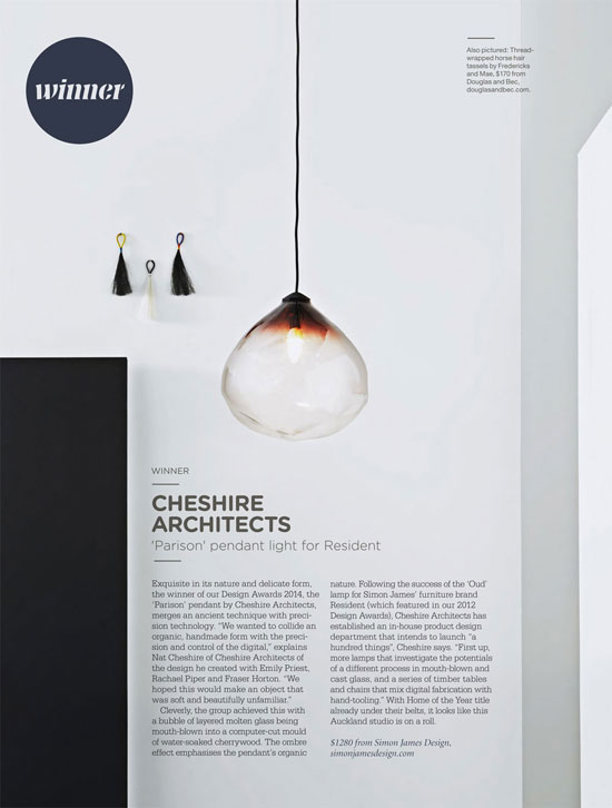 Resident - Parison Pendant wins home design awards