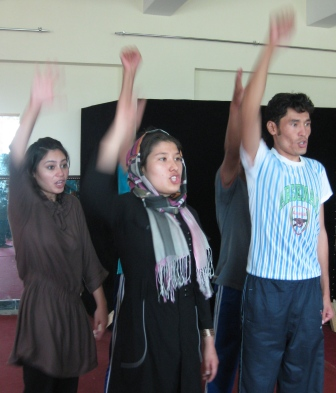 "Power to the people! Actually Roya, Halimeh and Gulam Reza are shouting ""I like chocolate""!"