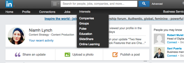 """Click around under """"Interests"""": if there's anything good, it'll be here"""