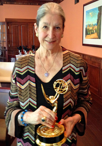 Invisible Women author Jane Fortune with the Emmy.
