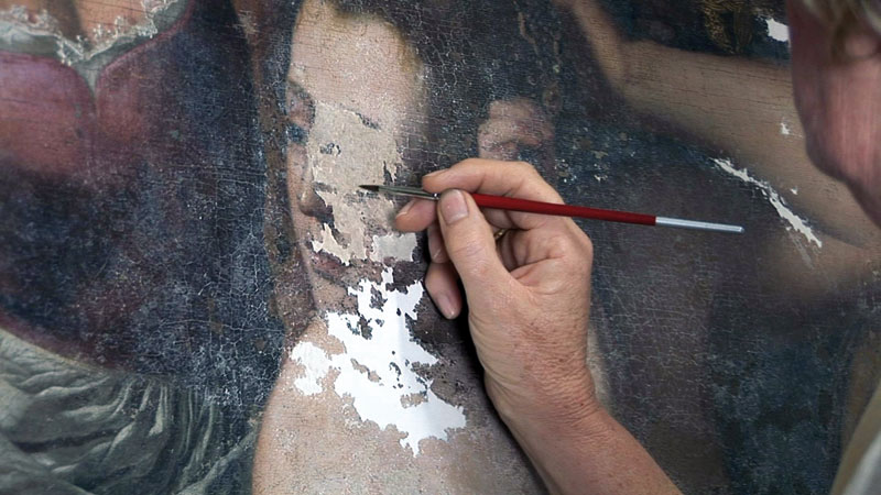 Restoring Batheba's face in a painting by Artemisia Gentileschi