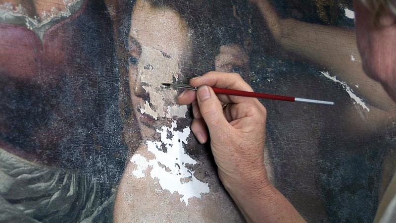 Il restauro del volto di Batseba in un dipinto di Artemisia Gentileschi
