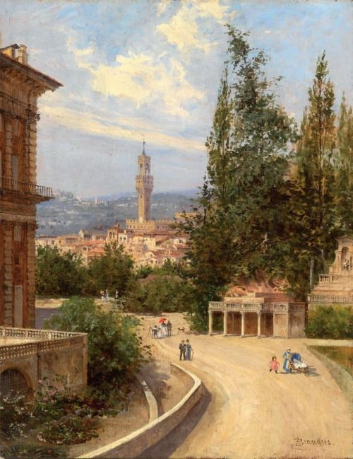 A charming scene of Pitti's 'back-yard', the Boboli
