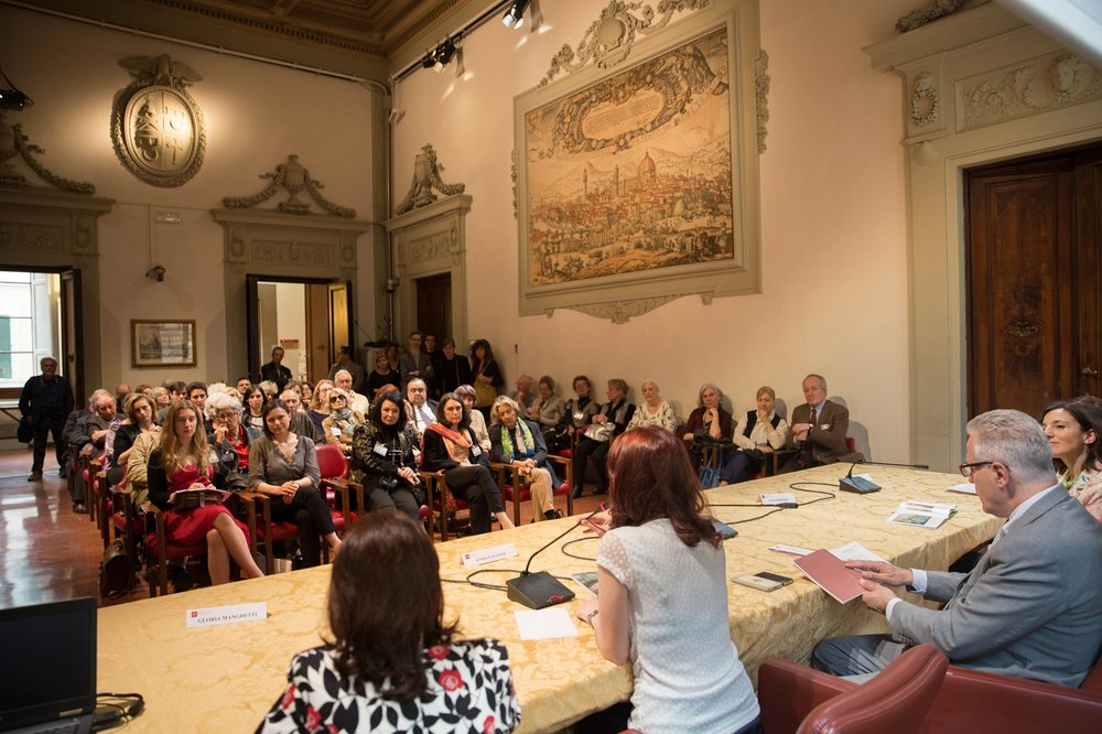 Presenting the show at Palazzo Panciatichi