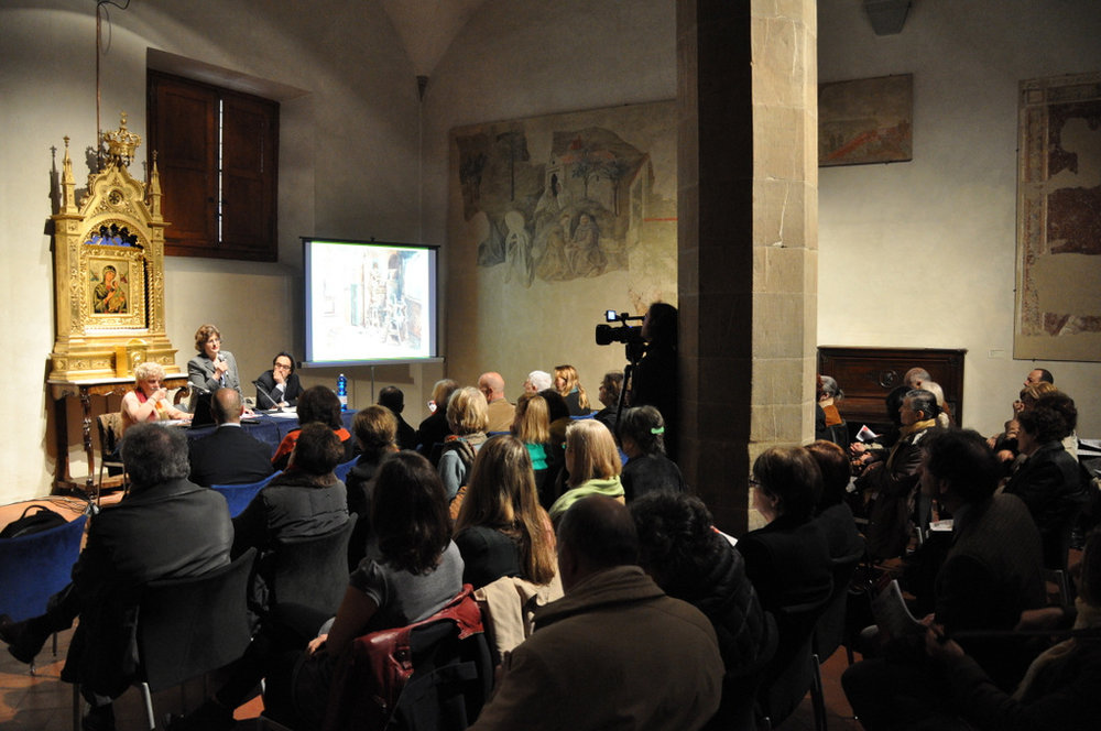 Conference at the cloister of Florence's Santa Maria del Carmine