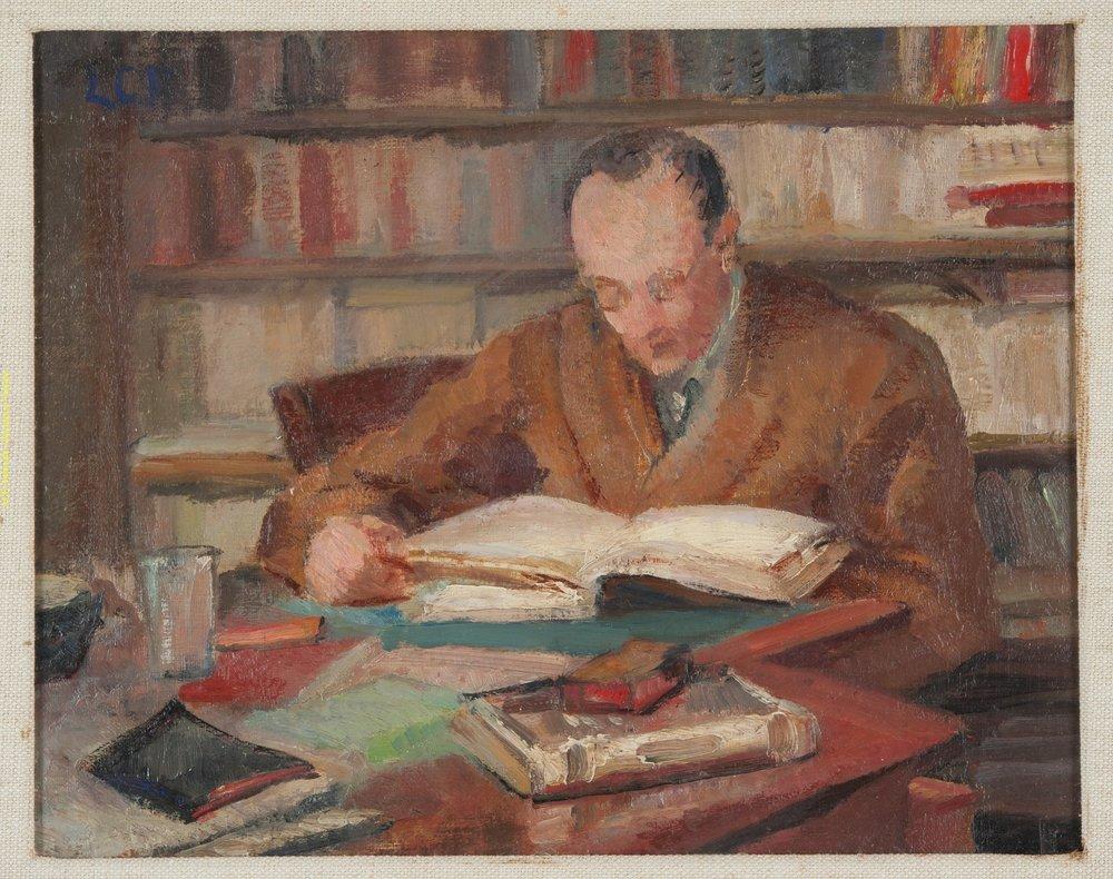 Ritratto del marito di Leonetta Pieraccini Cecchi; il critico Emilio Cecchi presso il Gabinetto Vieusseux.