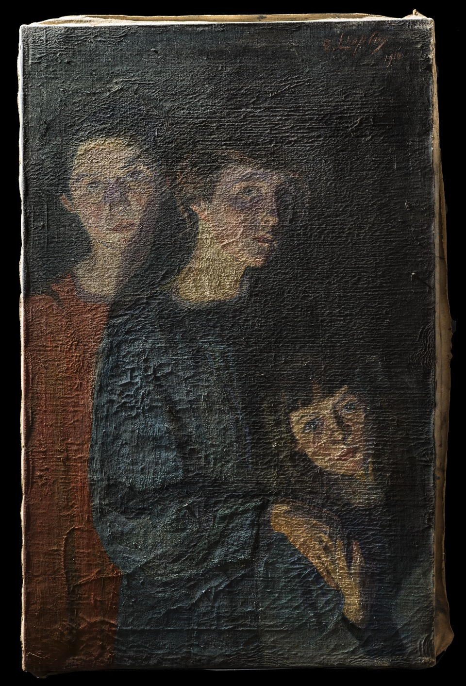 The unrestored painting under raking light
