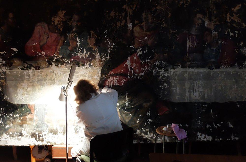 Conservator Rossella Lari while restoring Judas