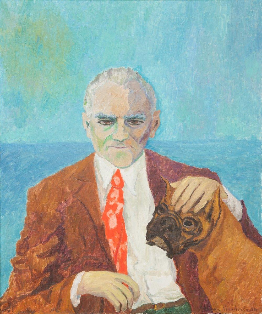 Adriana Pincherle's portrait of Alberto Moravia, 1971