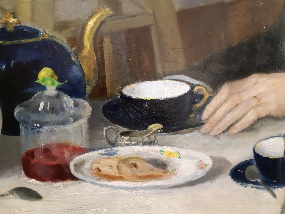 Un delicato dettaglio della scena della colazione di Morelli