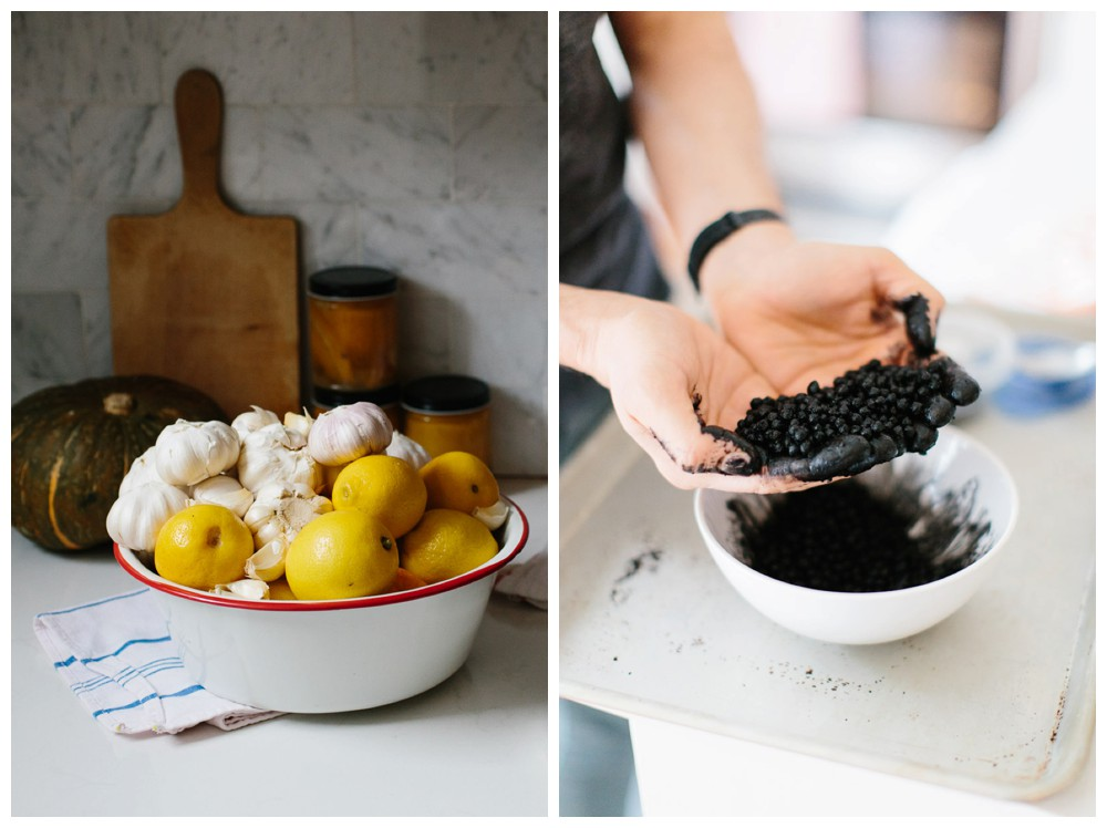 Left: Pantry essentials; Right: Squid ink hand-rolled couscous, made on that spot!