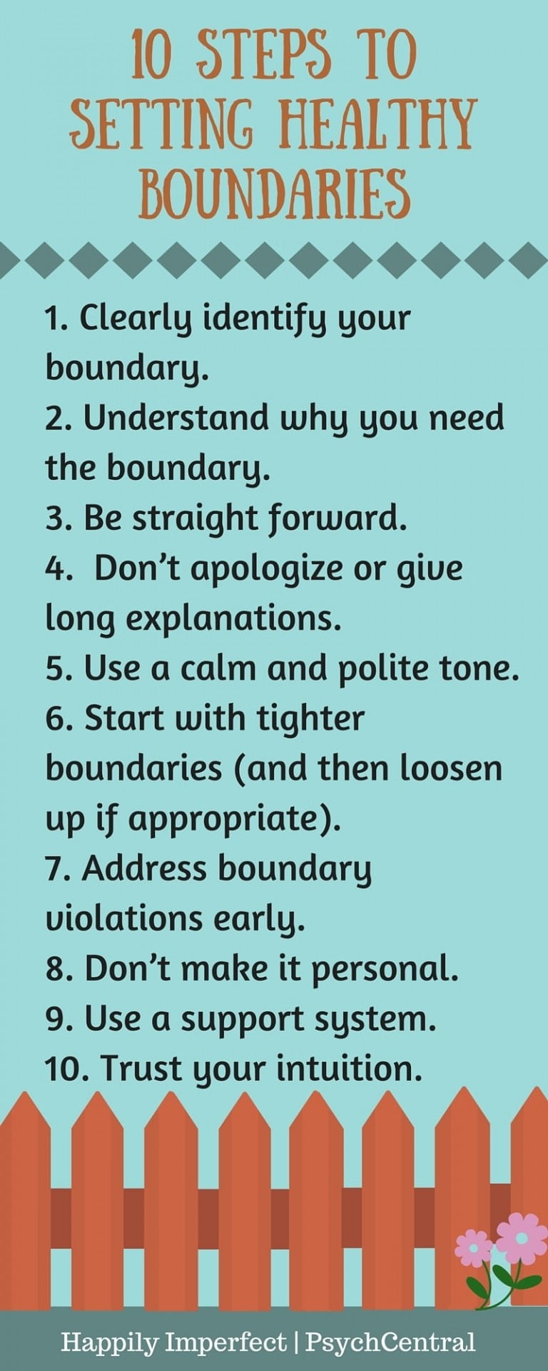 This is a great summary of forming and managing healthy boundaries from PsychCentral!
