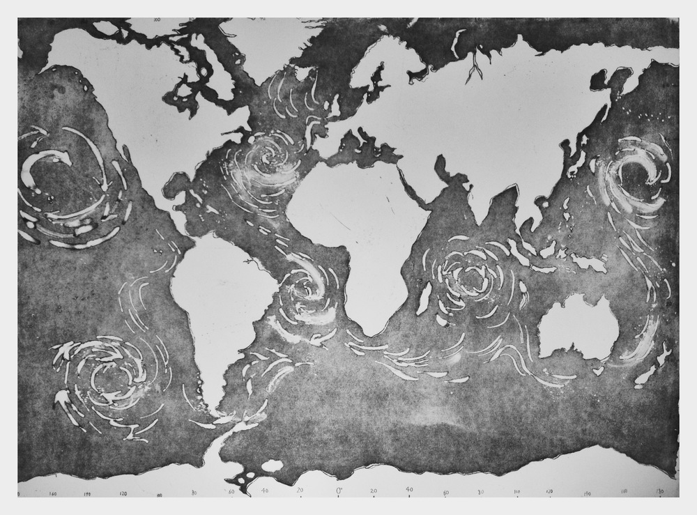 Limited Edition etching, detailing the Ocean Gyres, available as crowdfunder.com rewards for donations over £150. 55 x 77 cm on Somerset Satin paper.