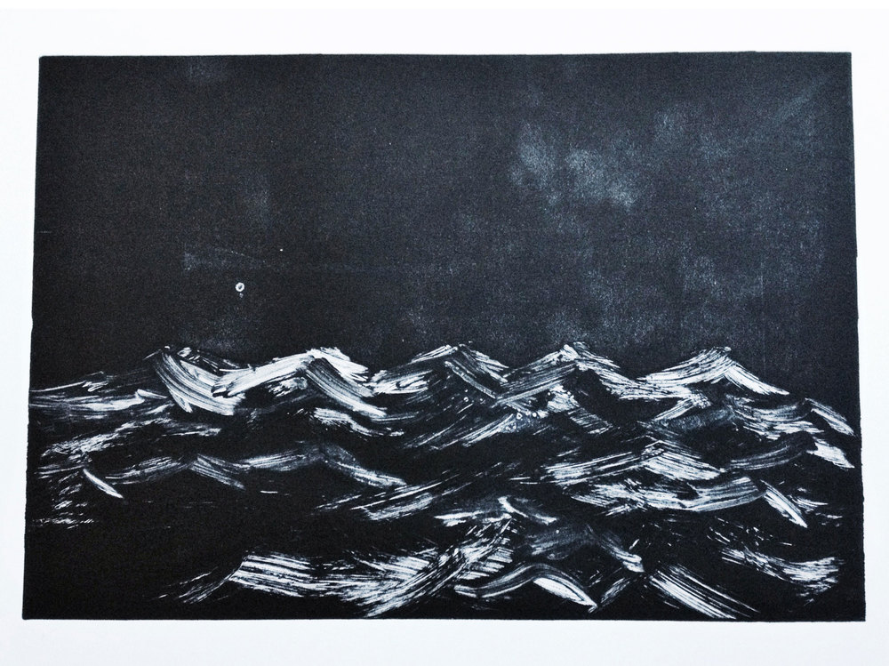 In the night ~ monoprint ~ 2016 43cm x 30 cm